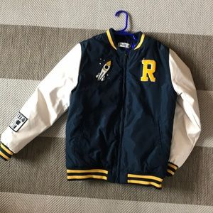 Boy's letter jacket bomber, padded and waterproof